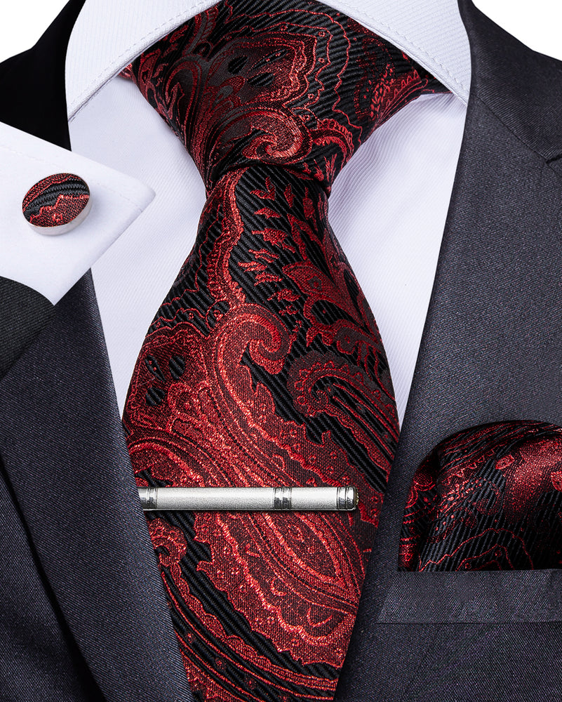 Load image into Gallery viewer, Red Black Floral Men's Tie Handkerchief Cufflinks Clip Set (4690607276113)