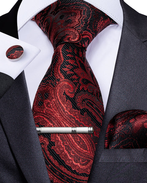 Red Black Floral Men's Tie Handkerchief Cufflinks Clip Set