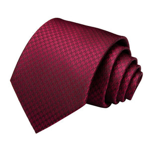 Red Houndstooth Plaid  Men's Tie Handkerchief Cufflinks Set (1965652639786)