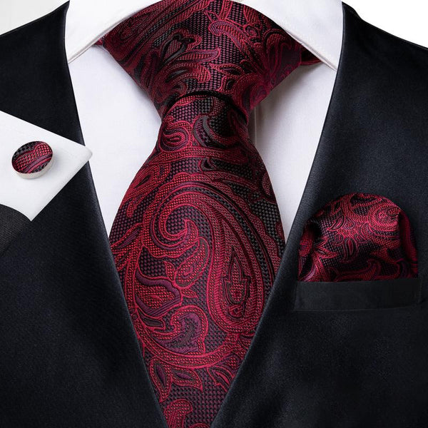 Red Black Paisley Men's Tie Handkerchief Cufflinks Set