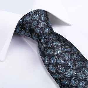 Load image into Gallery viewer, Grey Blue Paisley Men's Tie Handkerchief Cufflinks Set (1965733937194)