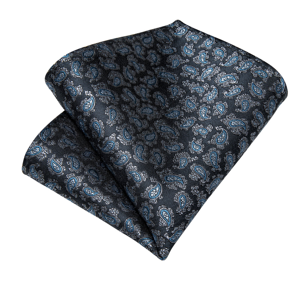 Load image into Gallery viewer, Grey Blue Paisley Men's Tie Handkerchief Cufflinks Set