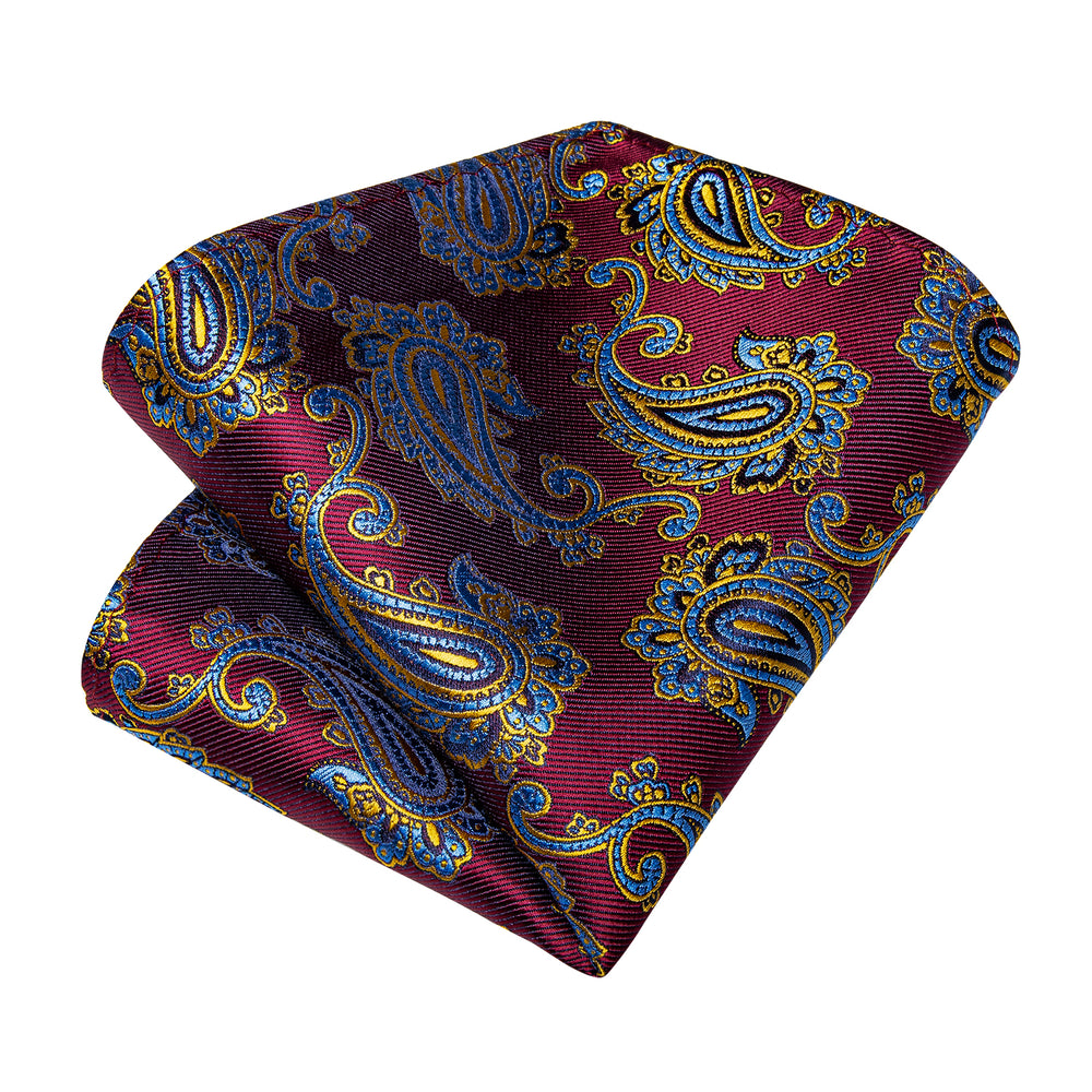 Purple Blue Paisley Men's Tie Handkerchief Cufflinks Set (1965752320042)