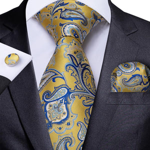 Load image into Gallery viewer, Yellow Blue Paisley Floral Men's Tie Handkerchief Cufflinks Set (1965758251050)