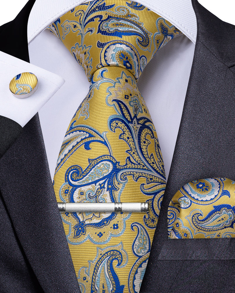 Load image into Gallery viewer, Yellow Blue Paisley Men's Tie Handkerchief Cufflinks Clip Set