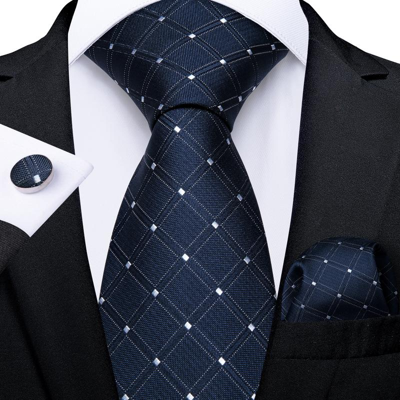 Blue White Plaid Tie Handkerchief Cufflinks Set