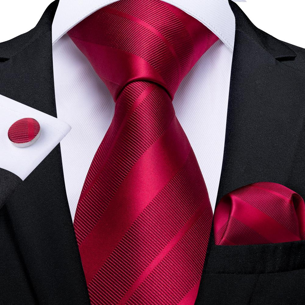 New Red Striped Tie Handkerchief Cufflinks Set (4601269223505)