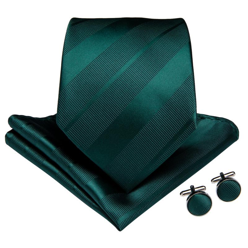 Load image into Gallery viewer, 4PCS Blackish Green Striped Solid Men's Silk Tie Handkerchief Cufflinks With Tie Ring Set