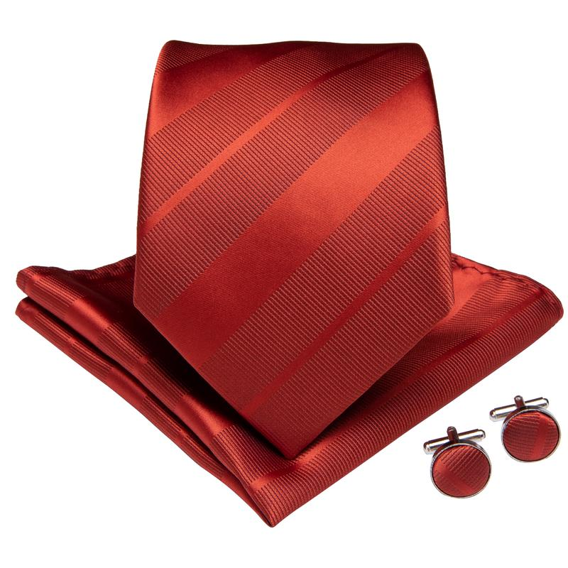 Orange Striped Men's Tie Handkerchief Cufflinks Set (1967842000938)