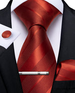 New Orange Red Striped Men's Tie Handkerchief Cufflinks Clip Set