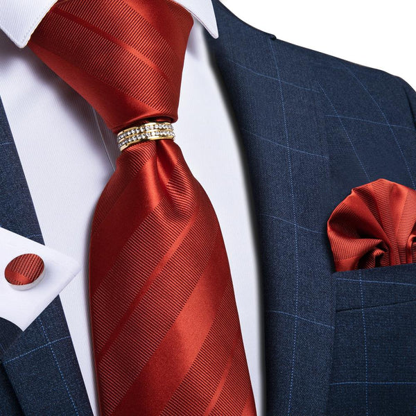 New Orange Red Striped Tie Ring Handkerchief Cufflinks Set