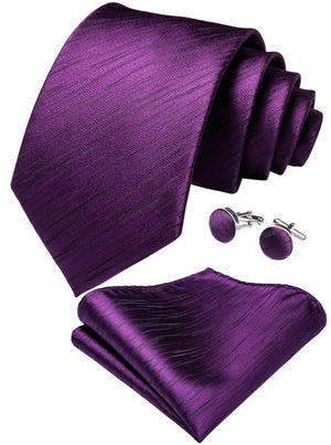 Purple Striped Men's Tie Handkerchief Cufflinks Set (3961350553642)