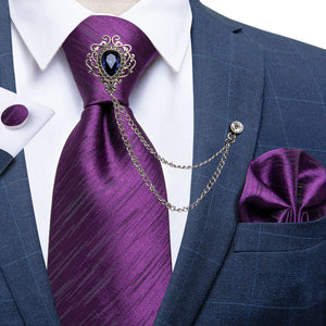 Purple Striped Men's Silk Necktie Handkerchief Cufflinks Set With GEM Lapel Pin Brooch Set