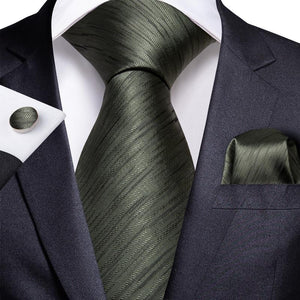 Dark Green Novelty Men's Tie Handkerchief Cufflinks Set (1967878504490)
