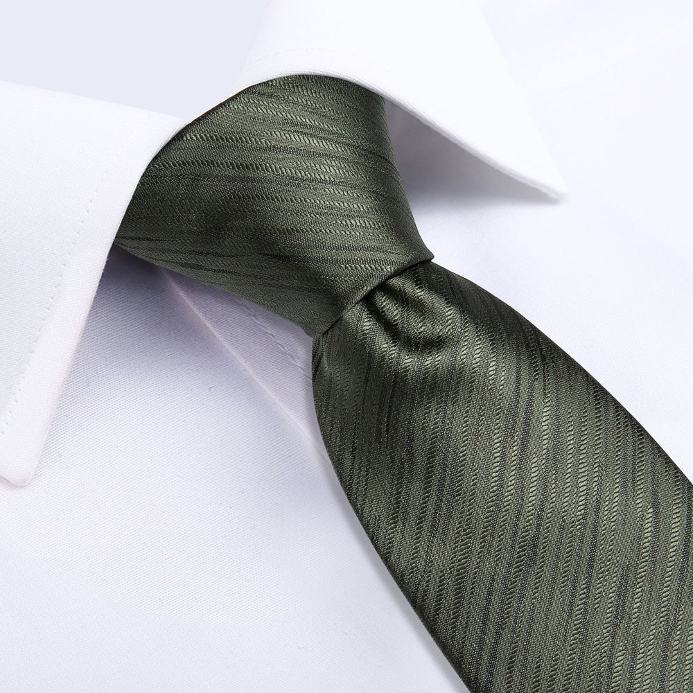 Dark Green Striped Men's Tie Handkerchief Cufflinks Clip Set
