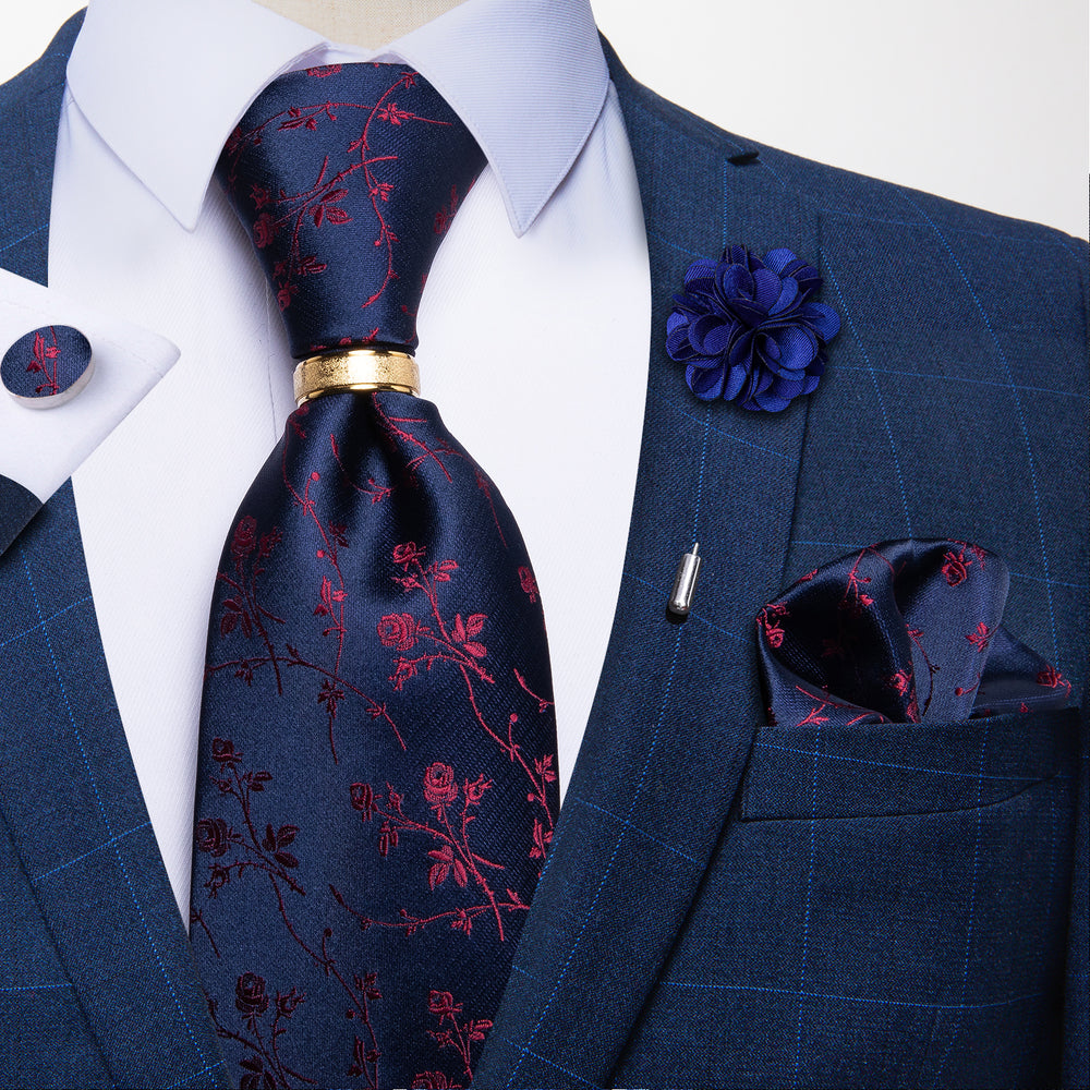 5PCS Blue Red Floral Tie Pocket Square Cufflinks with Tie Ring Lapel Pin Set