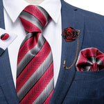 Red Grey Stripe Silk Men's Necktie Handkerchief Cufflinks Set With Lapel Pin Brooch Set