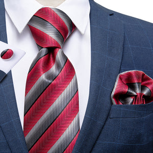 Load image into Gallery viewer, Red Grey Striped  Men's Tie Handkerchief Cufflinks Set with Tie Tack (4701435494481)