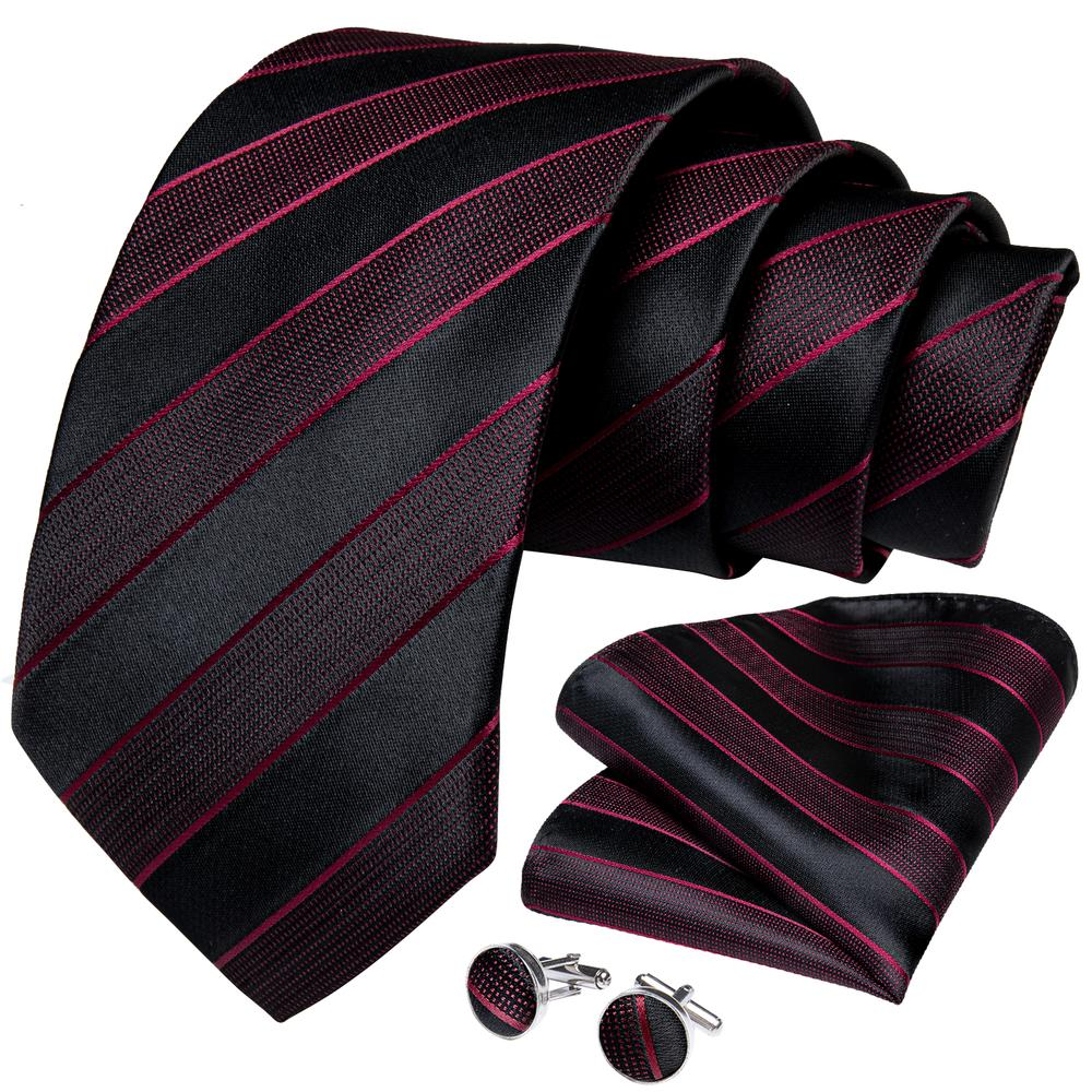 New Purple Red Black Stripe Tie Handkerchief Cufflinks Set (4601276858449)