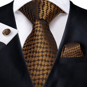 New Yellow Brown Plaid Tie Handkerchief Cufflinks Set (4601278758993)