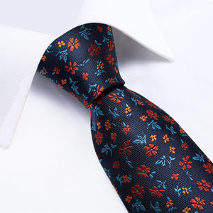 New Navy Orange Stripe Tie Handkerchief Cufflinks Set