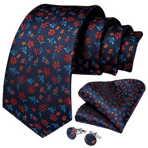 Load image into Gallery viewer, New Navy Orange Stripe Tie Handkerchief Cufflinks Set