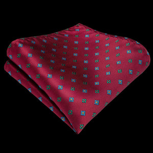 Red Tie Handkerchief Cufflinks Set (4601294454865)