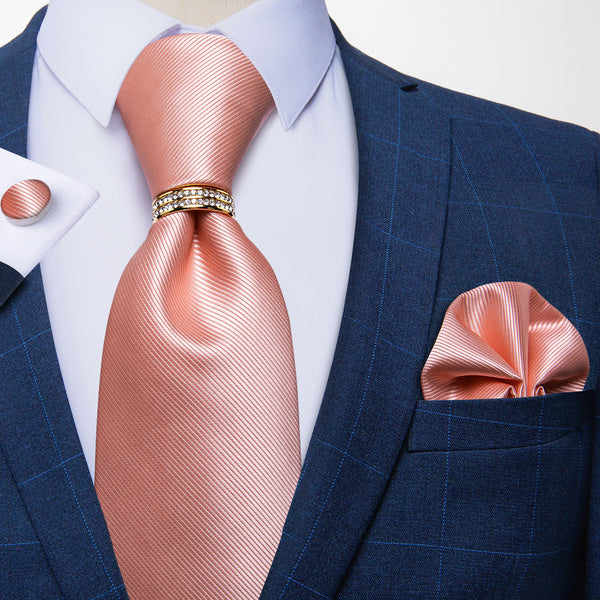 New Solid Coral Tie Pocket Square Cufflinks Set With Ring