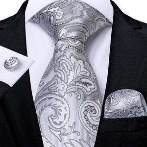 Load image into Gallery viewer, New Silvery White Paisley Tie Handkerchief Cufflinks Set
