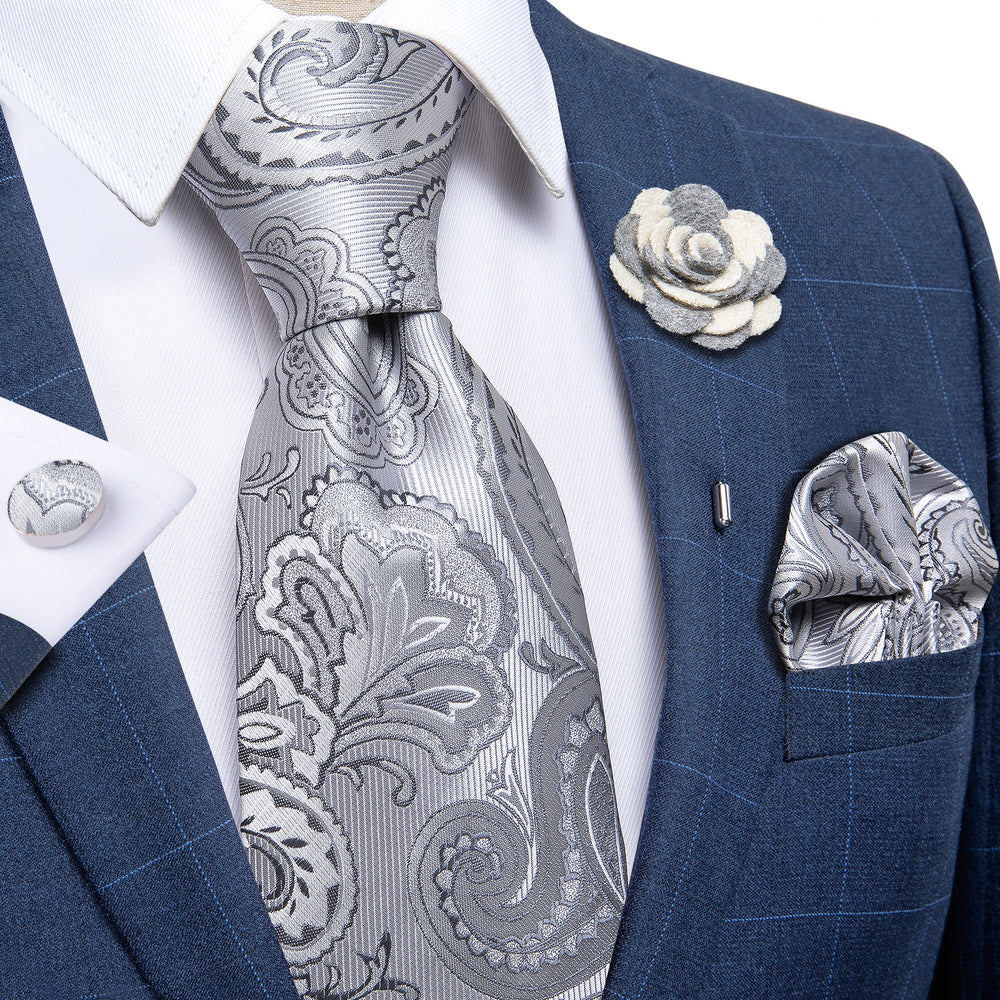 Load image into Gallery viewer, Silver White Paisley Men's Silk Necktie Handkerchief Cufflinks Set With Lapel Pin Brooch Set (4666070368337)