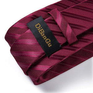 Load image into Gallery viewer, Burgundy Red Striped Tie Pocket Square Cufflinks Set