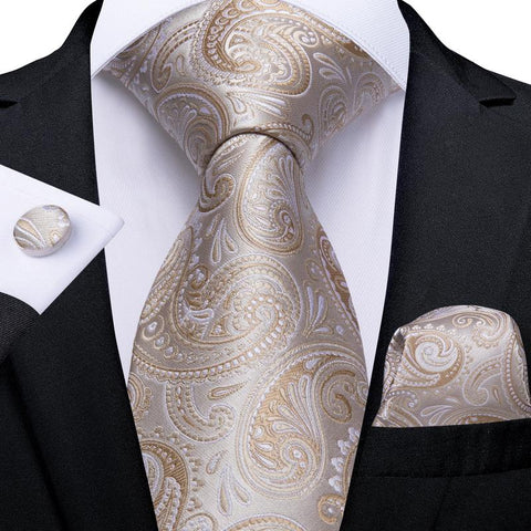 Beige Gold Yellow Paisley Tie Pocket Square Cufflinks Set