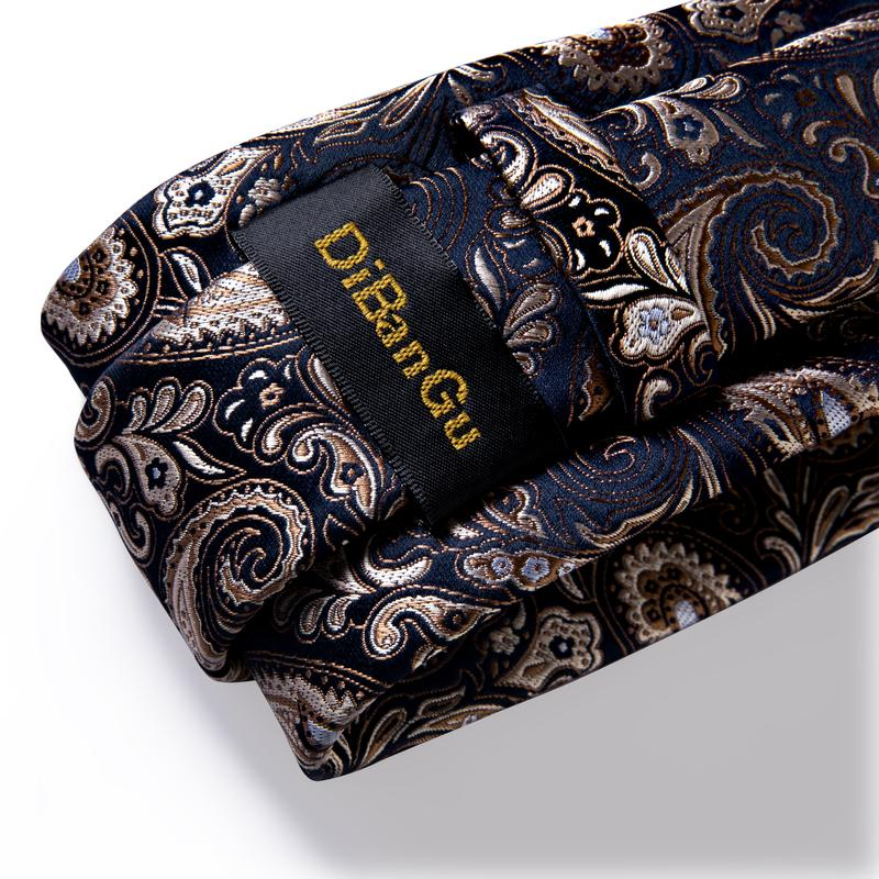 Gold Blue Paisley Floral Tie Pocket Square Cufflinks Set