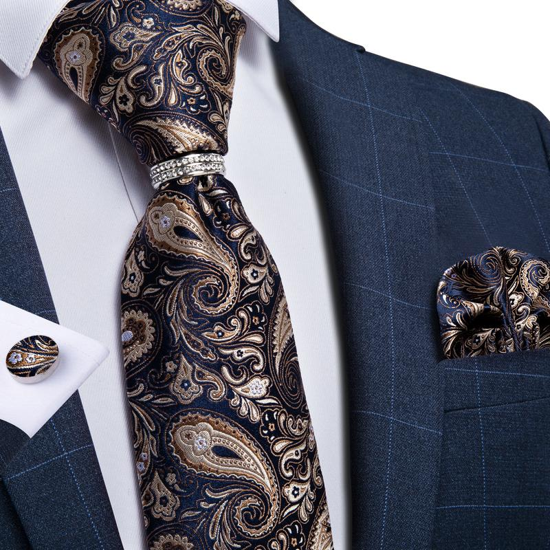 Gold Black Paisley Silk  Men's 4PCS Tie Pocket Square Cufflinks with Tie Ring Set