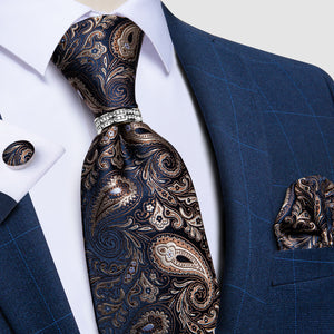 4PCS Blue Brown Paisley Tie Pocket Square Cufflinks with Tie Ring Set