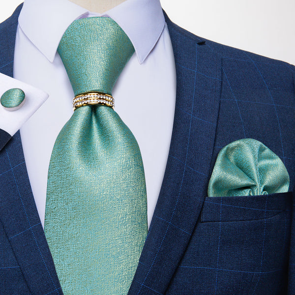 Shining Green Novelty Tie Pocket Square Cufflinks Set With Ring