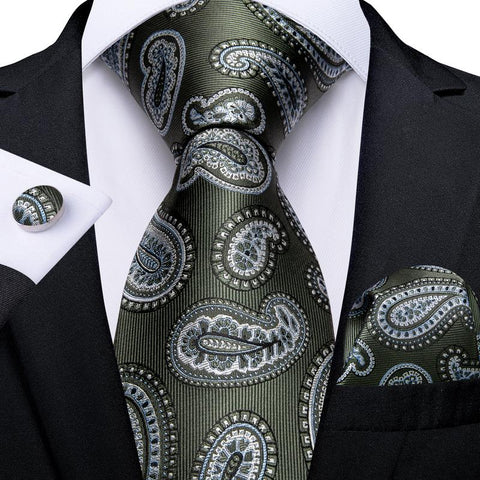 Green White Paisley Tie Pocket Square Cufflinks Set