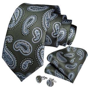 Load image into Gallery viewer, Green White Paisley Tie Pocket Square Cufflinks Set
