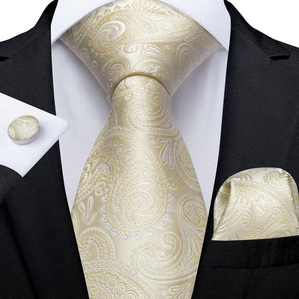 Beige Paisley Tie Pocket Square Cufflinks Set