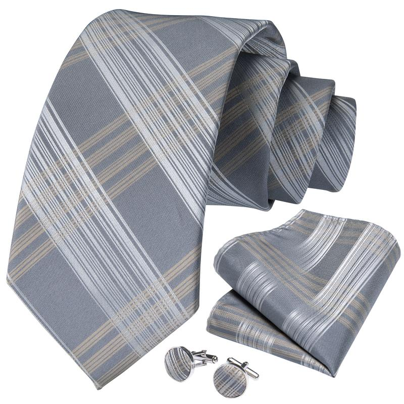 Dark Yellow Grey Striped Tie Pocket Square Cufflinks Set