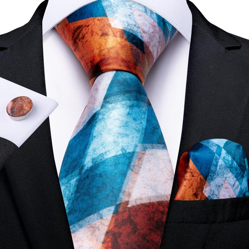 Blue Orange Plaid Tie Pocket Square Cufflinks Set