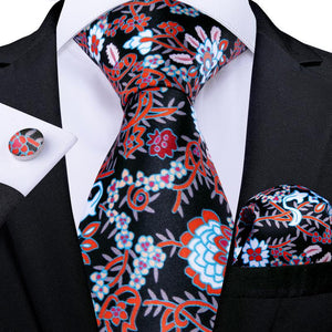 Black Red Floral Tie Pocket Square Cufflinks Set