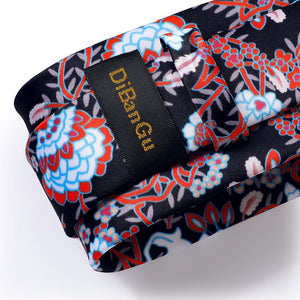 Load image into Gallery viewer, Black Red Floral Tie Pocket Square Cufflinks Set