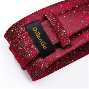 Red Green Novelty Tie Pocket Square Cufflinks Set