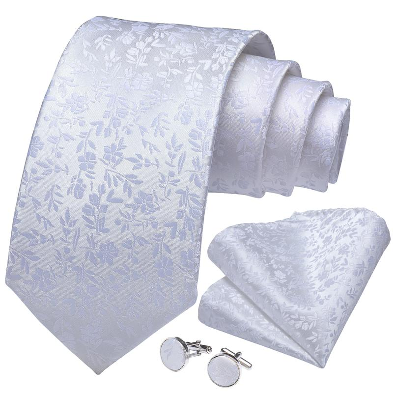 White Floral Tie Pocket Square Cufflinks Set (3955538362410)
