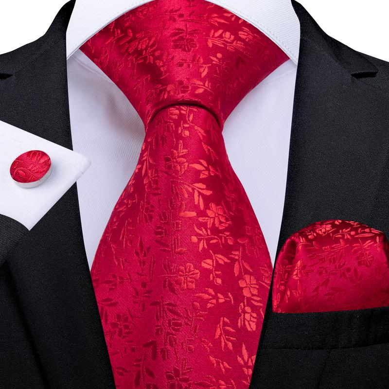 Load image into Gallery viewer, Red Floral Tie Pocket Square Cufflinks Set (3955547701290)