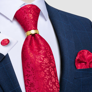 4PCS Red Floral Tie Pocket Square Cufflinks with Tie Ring Set