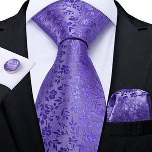 Load image into Gallery viewer, Lavender Purple  Floral Tie Pocket Square Cufflinks Set