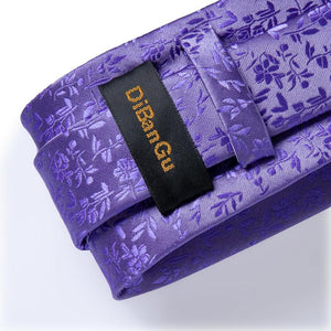 Load image into Gallery viewer, Lavender Purple  Floral Tie Pocket Square Cufflinks Set (3955548586026)
