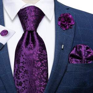 Purple  Floral Tie Pocket Square Cufflinks Set